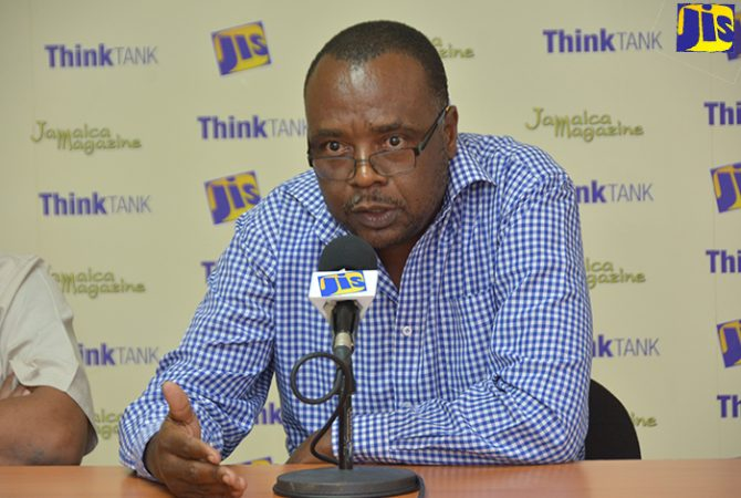 Health, Promotion and Education Officer at the Westmoreland Health Department, Gerald Miller, addresses Jamaica Information Service (JIS) 'Think Tank', at the agency's Montego Bay Regional Office, on February 20