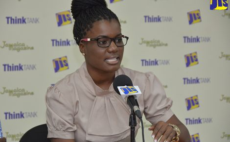 Veterinary Public Health Inspector at the Westmoreland Health Department, Jodi-Ann Harris, addressing a Jamaica Information Service (JIS) Think Tank at the agency's Montego Bay Regional Office on February 20.