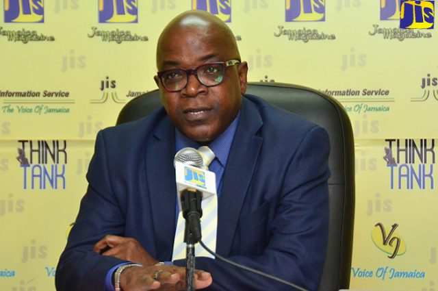 Deputy Financial Secretary, Strategic Human Resource Management, Ministry of Finance and the Public Service, Wayne Jones, speaking at a Think Tank held at the Jamaica Information Service's head office in Kingston recently.
