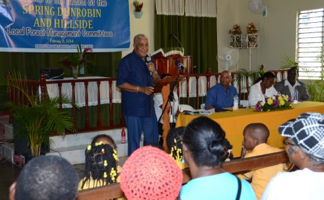 Minister of Water, Land, Environment and Climate Change, Hon. Robert Pickersgill, delivers the main address at the launch of the Spring Dunrobin and Hillside Local Forest Management Committees on Friday (Feb. 21), at the White Hall Baptist Church in St. Thomas. Seated at head table (from left) are: Member of Parliament for Western St. Thomas, James Robertson; Custos of St. Thomas, Hon. Marcia Bennett (centre); and Mayor of Morant Bay, Councillor Ludlow Mathison.