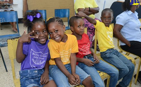 Students at the Majesty Gardens Infant School in Kingston during the official hand over of renovated bathrooms to the institution by National Commercial Bank Foundation on Wednesday, January 18. The Foundation gave over $457,050 for the project.