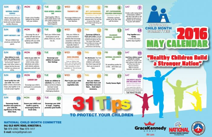 2016 Calendar- Childs month