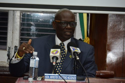 Minister of Local Government and Community Development, Hon. Desmond McKenzie, addresses a special meeting of the Hanover Municipal Corporation, on May 24.