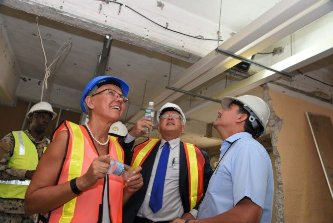 Minister of Justice, Hon. Delroy Chuck (second right), points out something of interest to Head of Delegation of the European Union (EU) to Jamaica, Ambassador Malgorzata Wasilewska; and Building Project Consultant at the Justice Ministry, Vivian Gordon. Occasion was Thursday's (May 24) tour of the building being renovated to accommodate new courtrooms for the Court of Appeal on King Street, downtown Kingston.