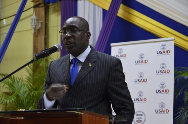 Minister of Education, Youth, and Information, Senator the Hon. Ruel Reid, emphasisrres a point while addressing the Ministry's back-to-school conference for regions three, four and five, held recently, at the West Jamaica Conference of Seventh-day Adventists, Mount Salem, St. James.