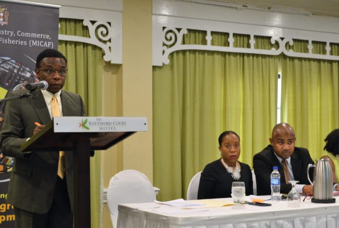 Principal Director, Medium, Small and Micro Enterprise (MSME) Division, Ministry of Industry, Commerce, Agriculture and Fisheries, Oral Shaw, addressing the quarterly meeting of the MSME Thematic Working Group, at The Knutsford Court Hotel, on Thursday, June 14, 2018. Matters discussed at the meeting included establishment the National MSME Policy Implementation Committee, update on developments within the MSME landscape, and Member Entity Updates. Seated at the head table (from left) are Financing Specialist, MSME Division, MICAF; Karen Hylton; Director, Programmes and Projects, MICAF, Clifford Spencer; and Technical Specialist, Socio-Economic Development Community Renewal Programme, Planning Institute of Jamaica, Charmaine Brimm.