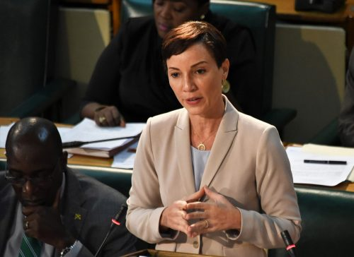 Leader of Government Business and Minister of Foreign Affairs and Foreign Trade, ​Senator Hon. Kamina Johnson Smith, pilots the the Public Procurement (Amendment) Act 2018 in the Upper House on Friday (June 15) .