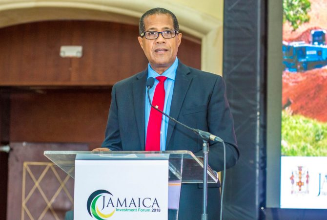 Chairman of the Factories Corporation of Jamaica (FCJ), Lyttleton Shirley, speaking on day two of the three-day Jamaica Investment Forum (JIF) held from June 12 to 14 at the Montego Bay Convention, St. James.