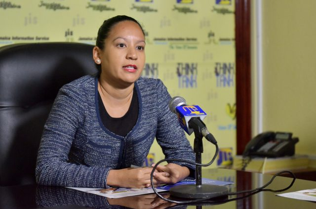 Project Manager at the Wigton Wind Farm, in Manchester, Michelle Chin-Lenn, addresses Jamaica Information Service (JIS) 'Think Tank' recently.