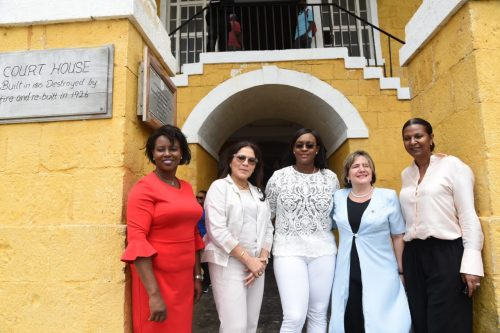 The Most Hon. Juliet Holness (centre), Wife of Prime Minister and Chairman of CARICOM, the Most Hon. Andrew Holness, with spouses of regional leaders in front of the Falmouth Court House, during a tour of the historic town on Thursday (July 5). They are attending the 39th Regular Meeting of the Conference of Heads of Government of CARICOM from July 4 to 6 at the Montego Bay Convention Centre in St. James. From left are wife of the President of Haiti, Mrs. Martine Moise; wife of the President of Suriname, Mrs. Ingrid Bouterse-Waldring; wife of the President of Cuba, Mrs. Lis Cuesta Peraza; and wife of the Prime Minister of Belize, Mrs. Kim Simpliss Barrow. The Cuban Presdent, Miguel Díaz-Canel, is attending the CARICOM meeting as a special guest.