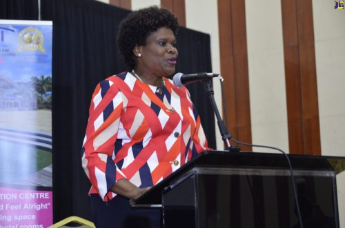 Permanent Secretary in the Ministry of Tourism, Jennifer Griffith addresses the Tourism Action Club Forum on 'Tourism and the Digital Transformation' on Thursday (September 27) at the Montego Bay Convention Centre in St. James.