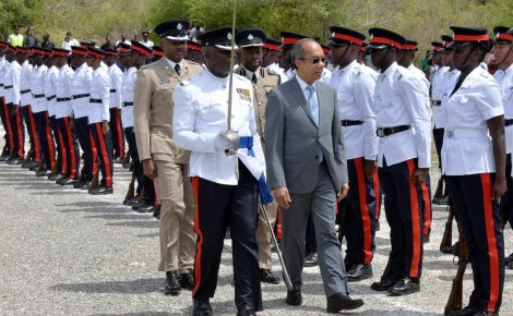 Minister of National Security, Hon. Dr. Horace Chang (centre), inspects the new batch of Jamaica Constabulary Force (JCF) recruits, during a passing out parade and awards ceremony for 169 new constables on Friday (September 7), at the National Police College of Jamaica in Twickenham Park, St. Catherine.