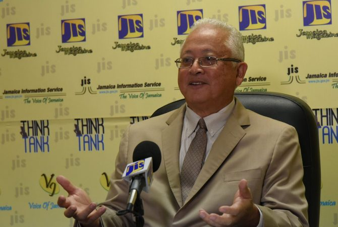 Minister of Justice, Hon. Delroy Chuck, address a JIS Think Tank on September 26.