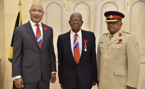Governor-General, His Excellency the Most Hon. Sir Patrick Allen (left), with Colonel Woodburn Miller (centre) and the Jamaica Combined Cadet Force (JCCF) Commandant, Colonel Errol Johnson, at the reading of the proclamation for the start of the JCCF 75th anniversary celebrations on Thursday, November 1, at King's House.