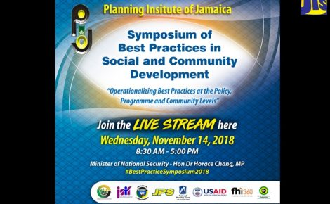 Symposium Live Stream Flyer/Sticker The Planning Institute of Jamaica (PIOJ) and its partners will host the third edition of the Symposium on Best Practices in Social and Community Development on Wednesday, November 14, at the Jamaica Conference Centre. The symposium, which will last from 8:30 a.m. to 5:00 p.m., will also be streamed live to the public on the Facebook pages of the partner agencies.