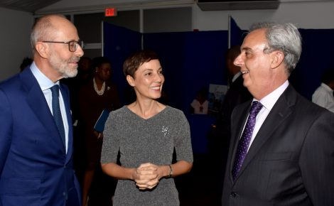 Foreign Affairs and Foreign Trade Minister, Senator the Hon. Kamina Johnson Smith (centre), engages in light conversation with Argentine Ambassador to Jamaica, His Excellency, Ariel Fernandez (right), and French Ambassador to Jamaica, His Excellency, Denys Wibaux. Occasion was the launch of 'A Touch of France' at the Spanish Court Hotel in New Kingston on November 8.