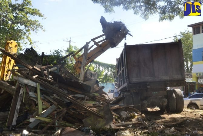 Heavy equipment is being utilised to remove bulky waste from Barracks Road, Montego Bay, as part of the National Solid Waste Management Authority's (NSWMA) clean-up drive.