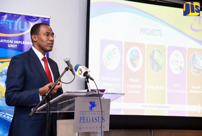Finance and the Public Service Minister, Dr. the Hon. Nigel Clarke, provides an update on the Government's Public Sector Transformation Project, at The Jamaica Pegasus hotel in New Kingston on Thursday (February 7).