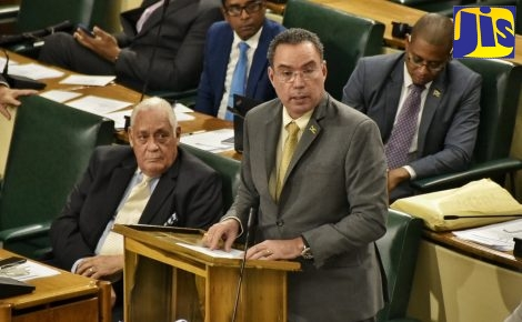 Minister without portfolio in the Ministry of Economic Growth and Job Creation, Hon. Daryl Vaz, addressing the House of Representatives on February 5. Listening are: Minister without Portfolio in the Office of the Prime Minister, Hon. Mike Henry (left, front); St Mary South East Member of Parliament, Dr. Norman Dunn (left, back) and Minister of State in the Ministry of Education, Youth and Information. Hon. Floyd Green.
