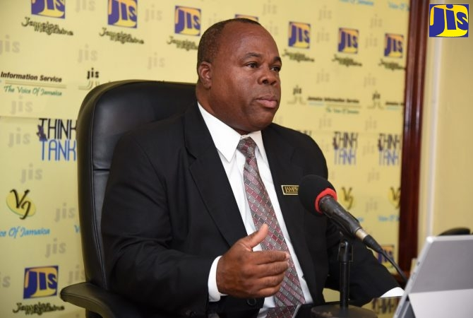 Manager for Jamaica Promotions Corporation's (JAMPRO), Sales Support Unit, Ricardo Durrant, addressing a Jamaica Information Service (JIS) Think Tank forum.