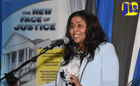 Coordinator of the Restorative Justice Unit in the Ministry of Justice, Dr. Kahilah Whyte, speaking at the 10th Conference on Restorative Justice at the Spanish Court Hotel in New Kingston on February 8.