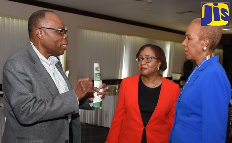 Minister without Portfolio in the Ministry of Finance and Public Service, Hon. Fayval Williams (right), interacts with Executive Director of the Institute of Chartered Accountants of Jamaica, Rosemarie Heaven (centre), and Managing Partner of the accounting firm, Bert Smith and Company, George Willie, during the official launch of the 37th Annual Conference of the Institute of Chartered Accountants of the Caribbean (ICAC) at the Jamaica Pegasus Hotel, New Kingston, on February 8.