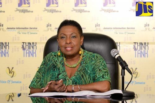 Minister of Culture, Gender, Entertainment and Sport, Hon. Olivia Grange, speaking about Festival 2019 celebrations at a Jamaica Information Service (JIS) Think Tank at the agency's head office in Kingston Friday (July 26).