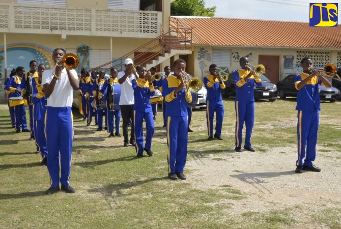 The Heights Marching Band performing at the Jamaica Public Service (JPS) Foundation 'Summer Camp Ablaze' closing ceremony at the Farm Heights United Church in St. James on Friday (July 26). Some 105 children from Farm Heights participated in the two-week event.
