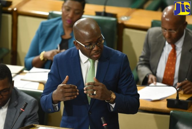 Minister without Portfolio in the Ministry of Economic Growth and Job Creation, Senator Hon. Pearnel Charles Jr, emphasizes a point while moving three motions relating to a 30-day extension of States of Public Emergency (SOEs) in six parishes, during the Senate's sitting at Gordon House on Friday (December 13).