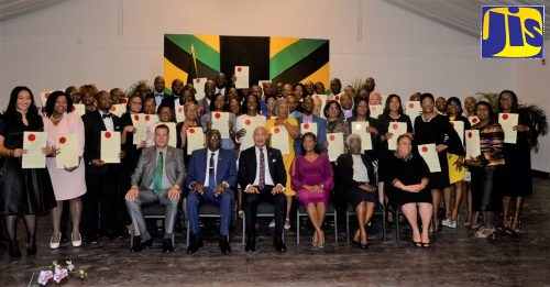 Their Excellencies, Governor-General, the Most Hon Sir Patrick Allen (seated third left) and the Most Hon. Lady Allen (seated third right) are pictured with the 54 new Justices of the Peace (JP) for St. James, who were installed during a ceremony held at the S Hotel Conference and Event Centre in Montego Bay on Thursday (December 12). Also at the swearing-in are (seated from left): Mayor of Montego Bay, Councillor Homer Davis; Custos Rotulorum for St James, Bishop the Hon. Conrad Pitkin and his wife Deverly Pitkin; and Senior Parish Judge for St. James, Sandria Wong-Small.