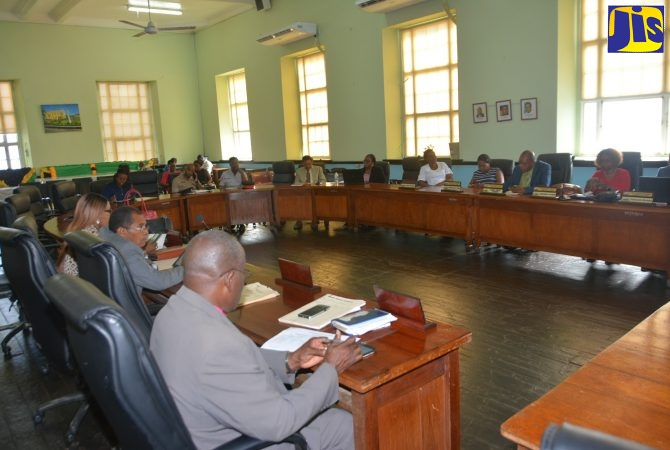 Councillors participating in the monthly meeting of the Trelawny Municipal Corporation in Falmouth, on Thursday, December 12. The meeting was addressed by Minister of Local Government and Community Development, Hon. Desmond McKenzie