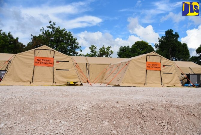 The coronavirus (COVID-19) field hospital donated by the United States (US) Government, which is located at the National Chest Hospital in St. Andrew