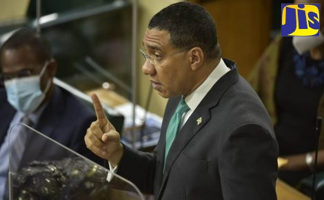 Prime Minister, the Most Hon. Andrew Holness, making his contribution to the 2021/22 Budget Debate in the House of Representatives on March 18.