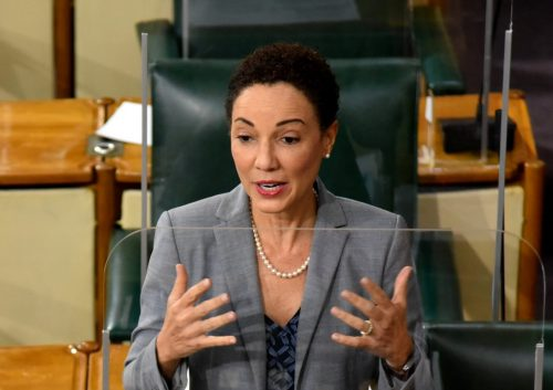 Minister of Foreign Affairs and Foreign Trade and Leader of Government Business in the Upper House, Senator the Hon. Kamina Johnson Smith, emphasises a point while making a statement during the sitting of the Senate on Friday (July 2).