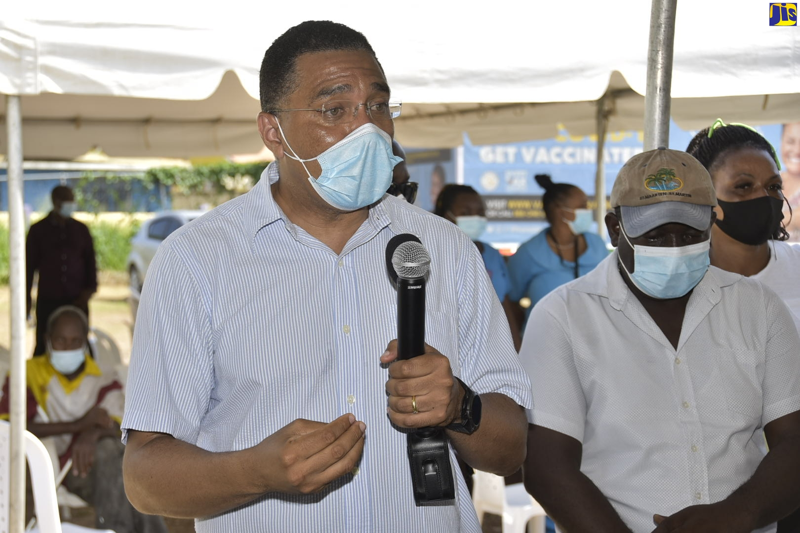 Prime Minister, the Most. Hon. Andrew Holness, speaking during a coronavirus (CoVID-19) vaccination blitz at the Pembroke Hall community centre in St. Andrew on Friday (Sept. 24).