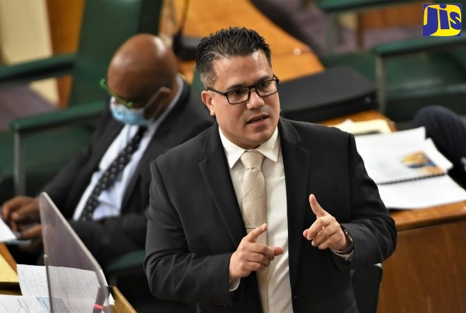 Minister without Portfolio in the Ministry of National Security, Senator Hon. Matthew Samuda, emphasises a point while making his contribution to the 2021/22 State of the Nation Debate in the Upper House on Friday (Sept. 24).