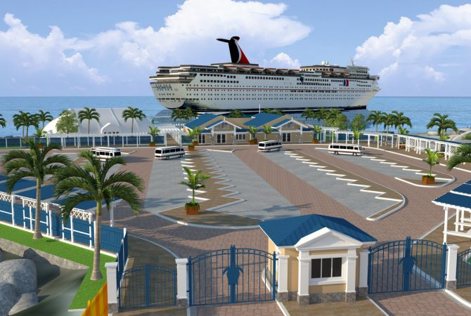 An artistic representation of what the Ocho Rios Cruise Terminal/Pier will look like at the completion of the enhancement project.