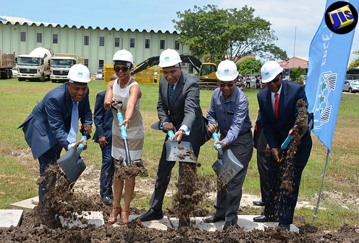 Prime Minister, the Most Hon. Andrew Holness (centre), breaks ground for the construction of 63,000 square feet of new office space for the Business Process Outsourcing (BPO) sector in the Montego Bay Free Zone, on August 25. Joining the Prime Minister (from left) are President and Chief Executive Officer (CEO) of the Port Authority of Jamaica, Professor Gordon Shirley; Attorney General and Member of Parliament for West Central St. James, Hon. Marlene Malahoo Forte; Minister without Portfolio in the Ministry of Economic Growth and Job Creation, Hon. Dr. Horace Chang; and Mayor of Montego Bay, Councillor Glendon Harris.