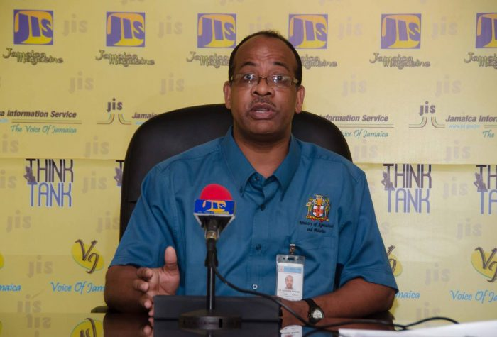 Senior Veterinary Officer and Technical Manager in the Veterinary Services Division of the Ministry of Industry, Commerce, Agriculture and Fisheries, Dr. Winthorph Marsden, makes a point during a JIS 'Think Tank' on  May 31.