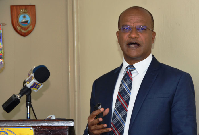 National Security Minister, Hon. Peter Bunting, speaking at a recent meeting of the Montego Bay Chamber of Commerce and Industry, at which he gave details of the success of the programme.