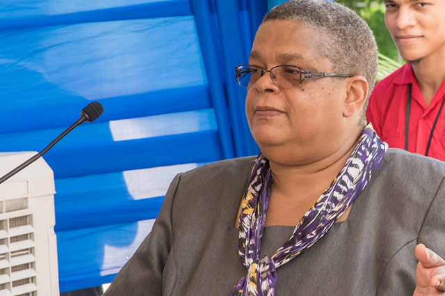 Permanent Secretary in the Ministry of Justice, Carol Palmer, addresses the official opening of the St. Ann Parish Justice Centre in St. Ann's Bay on July 6.