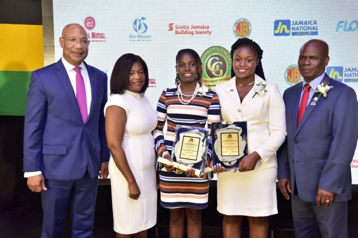 Governor-General, His excellency the Most Hon. Sir Patrick Allen (left); the Most Hon. Lady Allen (second left), and Custos of Kingston, Hon. Steadman Fuller (right), with two of the 2018 recipients of the Governor-General Achievement Awards for the County of Surrey, Dr. Tameka Stephenson (third left) and Nicole McLaren-Campbell. The ceremony was held at the Terra Nova All-Suite Hotel in St. Andrew on April 26.