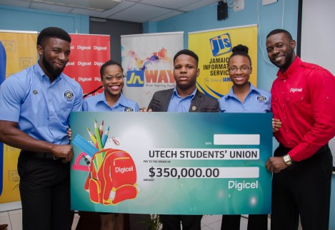Sponsorship Executive at Digicel, Tari Lovell (right), presents a cheque for $350,000 to executives of the University of Technology's (UTech) Students' Union Council, towards the Teach the Youth summer outreach programme, at the launch at the initiative at the UTech campus on July 10.  The members of the executive (from left) are: President, Darrian McGhann; Vice President for Public Relations, Monique Morgan; Director of Community Service, Akili Henney; and Executive Secretary, Janielle Martin.
