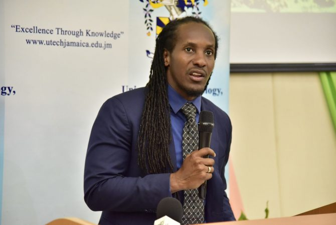 Minister of State in the Ministry of Culture, Gender, Entertainment and Sport, Hon. Alando Terrelonge, addressing the opening ceremony for the 8th annual Caribbean Conference on Sport Sciences at the University of Technology (UTech) Old Hope Road campus in St. Andrew on April 13, where he represented Portfolio Minister, Hon. Olivia Grange.
