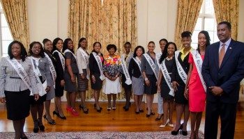 Wife of the Governor-General, Her Excellency the Most Hon. Lady Allen (centre),  with contestants in the Jamaica Cultural Development Commission (JCDC) Miss Jamaica Festival Queen 2015 Competition, who called on her at King's House, on  July 28. At second right is Jamaica Festival Queen 2014, Anjell Bryan, and at right is  Events Specialist at the JCDC, Michael Nicholson.