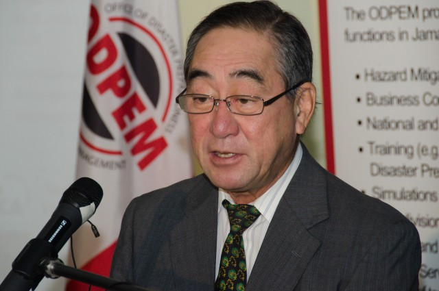 Ambassador of Japan to Jamaica, His Excellency Yasuo Takase, speaking at the launch of the Hazards Handy Manual on February 25, at the Office of Disaster Preparedness and Emergency Management (ODPEM) located on Haining Road in Kingston.
