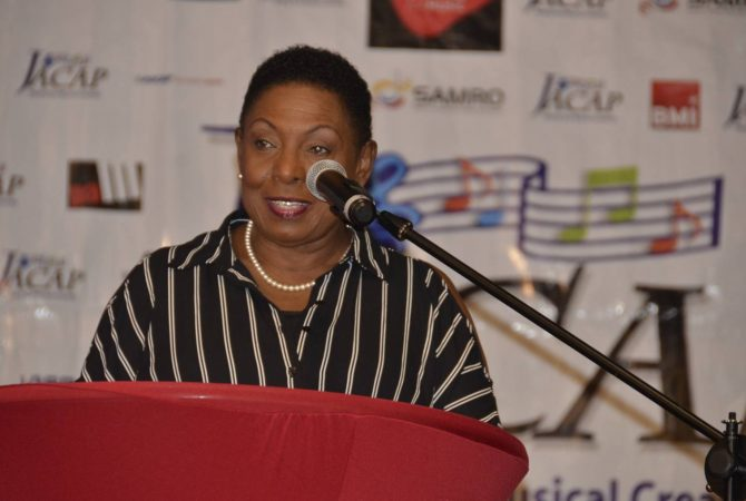 Minister of Culture, Gender, Entertainment and Sports, Hon. Olivia Grange, addresses the Association of Caribbean Copyright Societies (ACCS) Regional Conference at the Royalton Negril Resort on October 6.