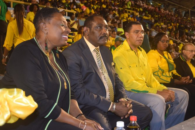 Prime Minister, the Most Honourable Andrew Holness; Minister of Culture, Gender, Entertainment and Sport, the Honourable Olivia 'Babsy' Grange; Member of Parliament, East Rural St Andrew, Juliet Holness; Former Prime Minister, Edward Seaga and Captain Horace Burrell watch intensely as Jamaica plays Costa Rica in the CONCACAF World Cup qualifying game at the National Stadium on Friday, March 25, 2016.