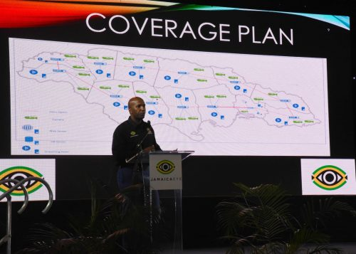 Project Manager, JamaicaEye, Major Sheldon Bryan, highlighting aspects of the initiative, during the launch of the national closed-circuit television (CCTV) system at the National Indoor Sports Complex in St. Andrew on March 14.