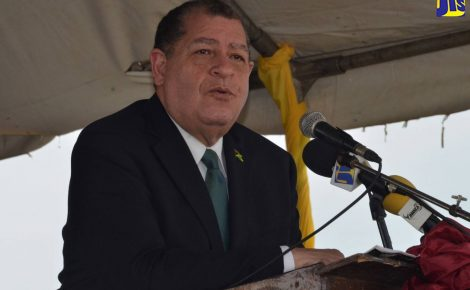 Minister of Finance and the Public Service, Hon. Audley Shaw, addresses the official ceremony to mark the 280th anniversary of the signing of the Peace Treaty between the Accompong Town Maroons and the British, in Accompong Town, St. Elizabeth, on January 6.